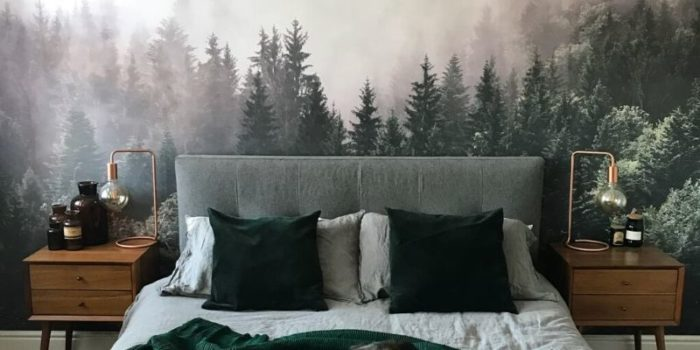 misty woodland wall mural