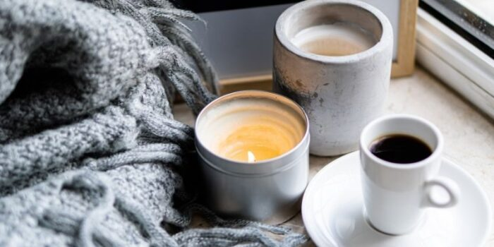 Cosy blanket and candle